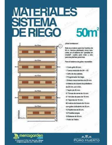 Materiales sistema de riego 50 m2 -...